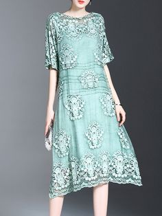 6b0b8e3f088afb Buy Midi Dress For Women from Tiana at Stylewe. Online Shopping Stylewe  Plus Size Bateau boat neck Green Midi Dress Asymmetrical Daytime Dress Half  Sleeve ...
