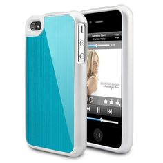 Detachable  Brushed Metal Hard Case Cover For iPhone 4S - Blue