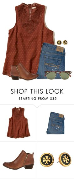 """Fall themed even though its December:)"" by flroasburn ❤ liked on Polyvore featuring Hollister Co., Abercrombie & Fitch, Lucky Brand, Tory Burch and Ray-Ban"