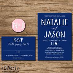 Nautical Wedding Invitation Suite, Response Card, Monogram - PRINTABLE files - resort wedding, nautical wedding, navy and pink - Natalie by DIVart on Etsy