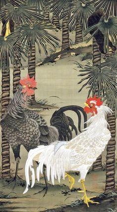 Ito Jakuchu 動植綵絵 Doshoku Sai-e Title: 棕櫚雄鶏図 Shuro Yukei-zu(Palm Trees and Roosters) c Art Chinois, Rooster Art, Art Asiatique, Chicken Art, Art Japonais, Galo, Japanese Painting, Japanese Prints, Japan Art