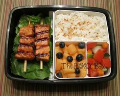 Thai Chili Paste Salmon Skewers with Coconut Rice Bento Box, work lunch, melon, fruit Bento Recipes, Lunch Box Recipes, Lunch Snacks, Healthy Recipes, Box Lunches, School Lunches, Bento Lunch Ideas, Recipies, Bento Box Lunch