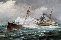 In Heavy Seas :: Anton Otto Fischer :: Vallejo Demo Sea Storm, Ship Paintings, Merchant Marine, Boat Art, Stormy Sea, Nautical Art, Tug Boats, Ship Art, Sailing Ships