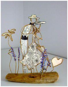 Amour provençal - figurines en ficelle et papier