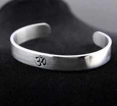 Buy Cool Silver Tone AUM OM Ohm Hindu Buddhist Hinduism Yoga India Stainless Steel Cuff Bangle Opening Bracelet for Men Women Bracelets For Men, Cuff Bracelets, Bangles, Yoga Bracelet, Fitness Bracelet, Brushed Metal, 316l Stainless Steel, Black Enamel, Stuff To Buy