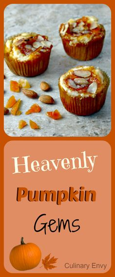 Heavenly Pumpkin Gems are perfect for the holidays.  Spicy pumpkin, delectable cream cheese, scrumptious apricot jam and sugar-glazed almonds make mornings a little brighter.