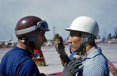 Two of the greatest drivers in the history of racing. Juan Manuel Fangio (on left) and Stirling Moss. Both drove for Maserati at Sebring in 1957.