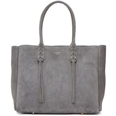 Lanvin Grey Suede Small Shopper Tote (86.030 RUB) ❤ liked on Polyvore featuring bags, handbags, tote bags, grey, studded tote, gray tote, lanvin tote, shopping tote bags and gray tote bag