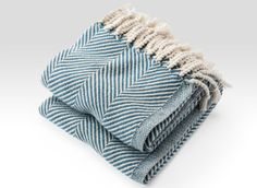 Cotton Herringbone Throw in Natural/Indigo