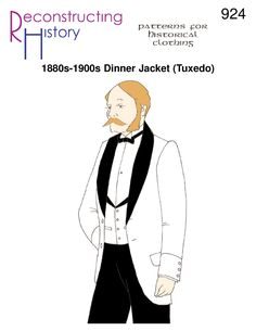 1880s Dinner Jacket pattern | 1880s Tuxedo pattern | Victorian dress suit pattern