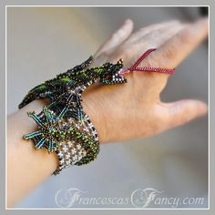 Items similar to Green Dragon Bracelet - Baby Dragon Fantasy Beaded Cuff on Etsy