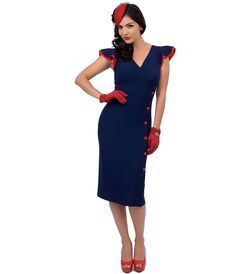 1940s style pinup dress  - Stop Staring! 1940s Style Nautical Navy Blue & Red Button Honor Fitted Wiggle Dress