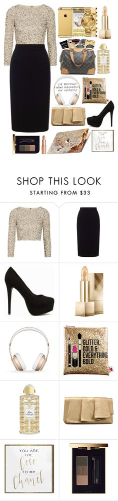 """""""""""Glitter, Gold & Everything Bold""""~♡"""" by kinakream ❤ liked on Polyvore featuring Alice + Olivia, Roland Mouret, Nly Shoes, Burberry, Beats by Dr. Dre, Sephora Collection, Creed, La Regale, ROXXLYN and Oliver Gal Artist Co."""