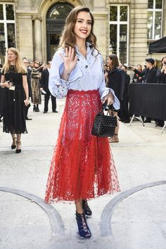 Jessica Alba Valentino Red Lace Skirt Paris