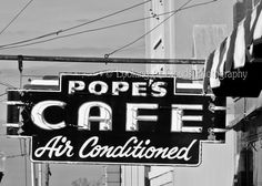 vintage diner - neon sign - fine art photo 5 x 7 black and white photo - retro neon  - Pope's Cafe
