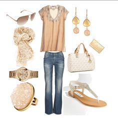fall, spring, summer, chic, cream tee, cream printed scarf, jeans, white bag, white silver sandals