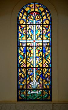 Stained Glass Church Windows designed and built for Young Meadows Presbyterian Church in Montgomery, Alabama. Broken Glass Art, Sea Glass Art, Mosaic Glass, Fused Glass, Water Glass, Stained Glass Church, Stained Glass Art, Stained Glass Windows, Traditional Windows