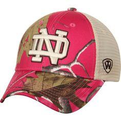 Notre Dame Fighting Irish Top of the World Women's Doe Realtree Camo Xtra Blaze Trucker Adjustable Snapback Hat - Pink