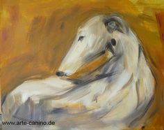 Greyhound or Galgo, painted in mixed media on canvas, 40 x 50 cm