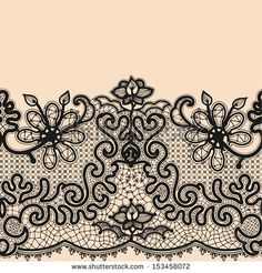 Abstract Lace Ribbon Seamless Pattern. Template frame design for card. Lace Doily. Can be used for packaging, invitations, and template. by ...