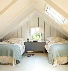 Bedroom. Love attic bedrooms!