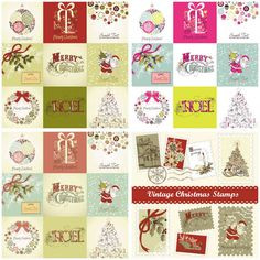 Vintage Christmas cards and backgrounds vector