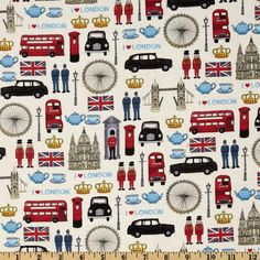 London Icons Cream/Multi - Discount Designer Fabric - Fabric.com