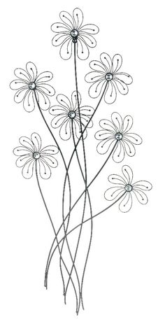 Contemporary Style Metal Wall Art Daisy Flowers Bronze Family D | lamp | lighting, furniture | accents, home decor | accessories, wall decor, patio | garden, Rugs, seasonal decor,garden decor,wall decor