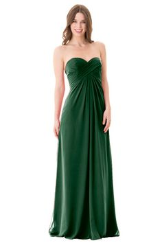 Strapless sweetheart neckline. Empire waist with light gathering in the center front of skirt. Crossing spaghetti straps in back. Center back zipper. | Style: 1670 in Hunter #bridesmaids #wedding