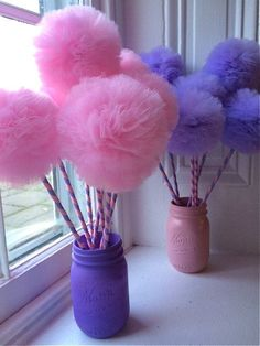 Inspired by Sofia the 1st First these princess party pink and purple pom pom wands are wonderful party favors for your next Princess or Fairy party!