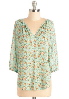 Everyday Efflorescence Top. Surround yourself with a garden's worth of beauty at any the time of year by donning this vibrant blouse! #mint #modcloth