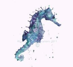Watercolour Seahorse Print, bathroom art, nautical animals, seahorse £16.50