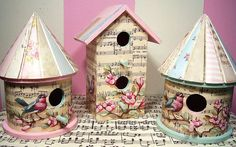 birdhouses with sheet music, birds and flower painting