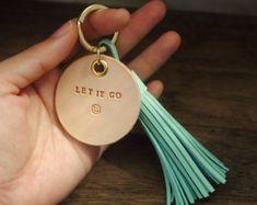 Personalized Leather Gift, Leather bagcharm, Leather Tassel Keychain, Teacher gift, Custom tassel keychain