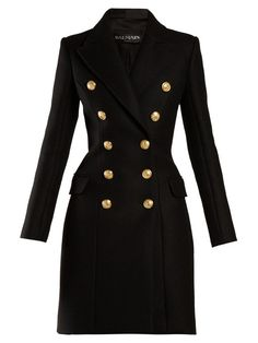 BALMAIN Double-breasted wool and cashmere-blend coat. Classy Outfits, Vintage Outfits, Double Breasted Coat, Cropped Trousers, Womens Fashion For Work, Coat Dress, Black Wool, Timeless Fashion, Coats For Women