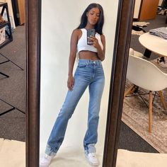 Women Jeans Outfit Long Coat Women Winter Pants Bdu Pants Cuffed Jeans Mens Clothing Sale Jeans And Heels Outfit – yuccarlily Chill Outfits, Mode Outfits, Trendy Outfits, Fashion Outfits, Fashion Tips, Trendy Jeans, Spring Outfits, Hijab Fashion, Black Girl Fashion