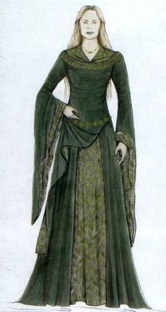 """Concept art for Eowyn's green velvet Meduseld gown from """"Lord of the Rings: The Two Towers"""" (2002).  Made with moss green velvet and an underskirt of leaf-patterned brocade, the gown also featured a collar heavily trimmed with antiqued Indian bullion."""