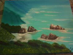 Hawaiian Beach peach. I painted this pic in a class, and we used a picture from Hawaii to go by.  Medium-oil