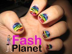 rainbow zebra nails, OMG I'm in love! Zebra Stripe Nails, Zebra Nail Art, Zebra Print Nails, Striped Nails, Spring Nail Art, Nail Designs Spring, Cute Nail Designs, Spring Nails, Toe Designs