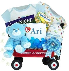 http://www.gotobaby.com/ – Buy the adorable personalized Kara Nessian Radio Flyer wagon for boys packed with all kinds of baby essential at Go To Baby.