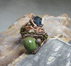 Boho Style Wire Wrapped Bead Ring. $26.00, via Etsy.