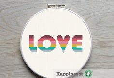 modern cross stitch pattern LOVE LOVE quote rainbow