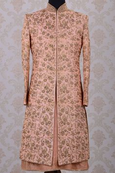 Wedding Sherwani-Pale Pink-Zari Work-SH269 - Sherwani - Men's Wear