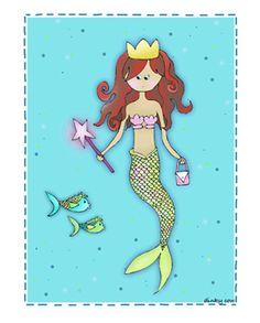 Princess Mermaid Kids Wall Art   Nursery Art   Artist created Nursery Decor- Dinky cow Nursery Art and Kid Art