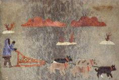 VINTAGE-AUTHENTIC-ALASKA-ESKIMO-FOLK-ART-IDITAROD-DOG-RACING-signature