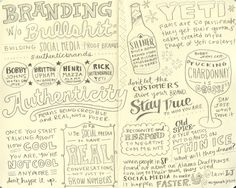Lauri's sketch notes from Branding Without Bullshit panel, featuring MCJ's Britton Upham along with Henri Mazza from the Alamo Drafthouse, Bobby Johns from Hotel San Jose and Rick Whittenbraker from Yeti Coolers. #authenticbrands