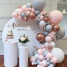🌸Alessia's Holy Communion 🌸 All props Balloons Cake 1st Birthday Party For Girls, Girl Birthday Decorations, Girl Birthday Themes, Baby Party, Balloon Decorations, Baby Birthday, Baby Shower Parties, Baby Shower Themes, Baby Shower Decorations