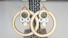 Earrings soutache pearls beads crystals OR by Bigiotteriapoliova