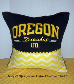 Oregon Duck Up-cycled T-Shirt Pillow, Dark Green with yellow embroidered letters, Added some yellow chevron fabric for an extra touch.
