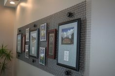 Photos & awards sandwiched in between stained mdf and Plexiglas then mounted to heavy duty metal screens. The result is a unique, textured and interesting...  Thinking man-cave décor!